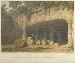 Entrance of the great Cave Temple of Elephanta, near Bombay, drawn in 1803